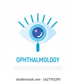 Ophthalmology flat icon. Human eye under magnifier. Logo for vision correction clinic. Vector illustration.