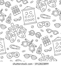 Ophthalmology hand drawn seamless pattern. Contact lens, glasses, phoropter and more. Optometry doodle objects. Vector illustration on white background