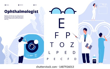 Ophthalmology landing. Ophthalmologist checks patient sight. Eyes test new technology. Eye care ophthalmological vector concept