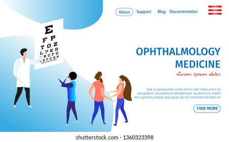 Ophthalmology Medicine Horizontal Banner with Copy Space. Vision Diagnostics Test. Oculist Exam and Eye Care Check Up. Healthcare Theme. People at Doctors Cabinet 3D Flat Vector Isometric Illustration