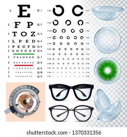 Ophthalmology Tools, Sight Examination Equipment Vector Set. Ophthalmology Accessories, Eye Test, Spectacles, Lenses And Phoropter. Ophthalmologist Visit. Eyesight Examination Realistic Illustration