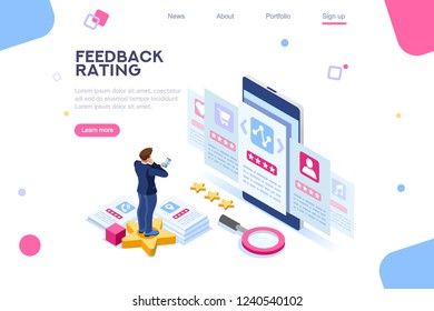Opinion, user choice support to approve human rate. Measurement experience images. Vote and evaluation. Isolated status of business recommendation. Web recommend background, flat isometric vector