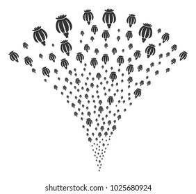 Opium Poppy festive fountain. Vector illustration style is flat iconic symbols. Object fountain organized from random pictographs as opium poppy fireworks.