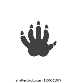 Opossum paw print vector icon. filled flat sign for mobile concept and web design. Possum animal footprint glyph icon. Symbol, logo illustration. Vector graphics