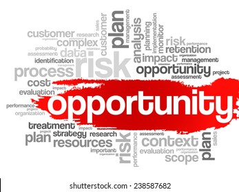 Opportunity and success concept in word tag cloud, vector background