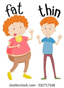Opposite adjectives fat and thin illustration