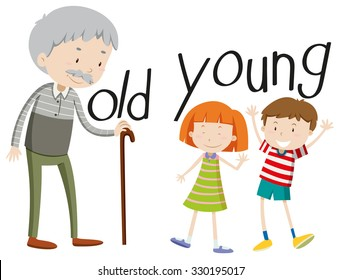 Opposite adjectives old and young illustration