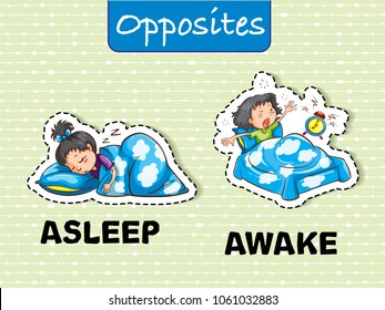 Opposite Asleep and awake flashcard