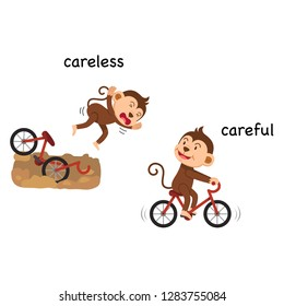 Opposite careless and careful vector illustration