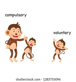 Opposite compulsory and voluntary vector illustration