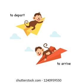 Opposite to depart and to arrive vector illustration