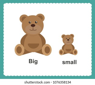 Opposite English Words big and small vector illustration