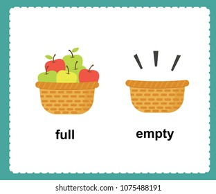 Opposite English Words full and empty vector illustration