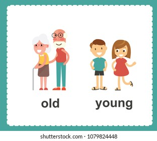 Opposite English Words old and young vector illustration