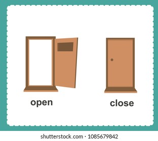 Opposite English Words open and close vector illustration