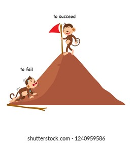 Opposite to fail and to succeed vector illustration