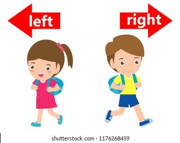 Opposite left and right, Girl on the left and boy on the right on white background,sign left and right illustration vector