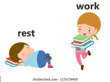 Opposite rest and work vector illustration, Opposite English Words rest and work vector illustration on white background.