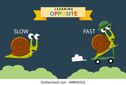 Opposite vocabulary: Fast and Slow, illustration, vector
