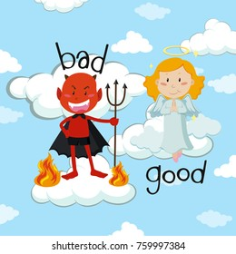 Opposite word for bad and good with angel and devil illustration