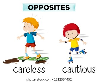 Opposite word of careless and cautious illustration