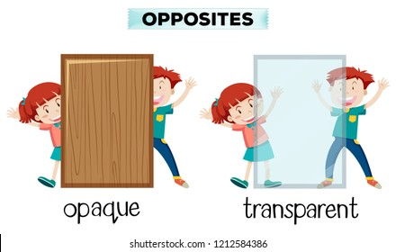 Opposite word of opaque and transparent illustration