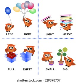 opposite word vector background for preschool (less more light heavy full empty small big)