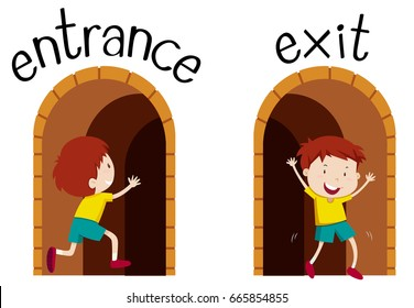 Opposite wordcard for entrance and exit illustration