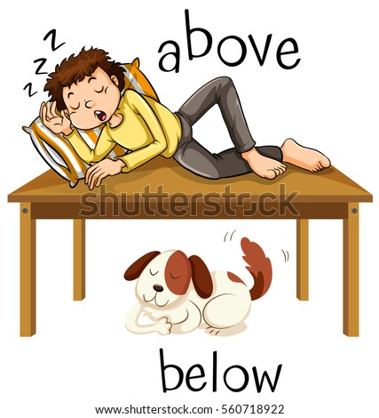 opposite words above below illustration stock vector royalty free