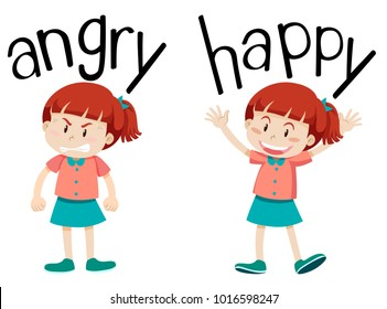 Opposite words for angry and happy  illustration