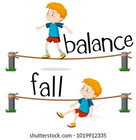 Opposite words for balance and fall illustration