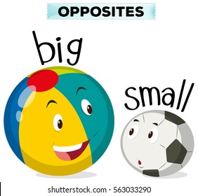 Opposite words for big and small illustration