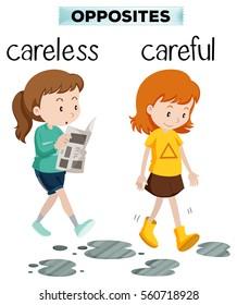 Opposite words for carelss and careful illustration