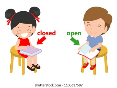 Opposite words closed and open vector illustration, Opposite English Words closed and open vector illustration on white background.
