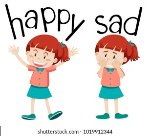 Opposite words for happy and sad illustration