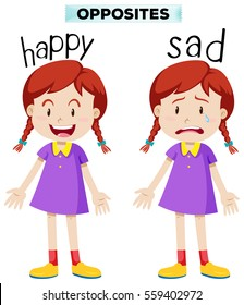 Opposite words with happy and sad illustration