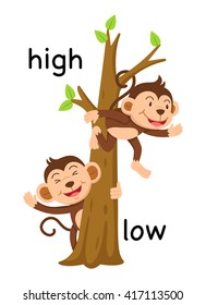 Opposite words high and low vector illustration