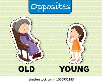 Opposite words for old and young illustration