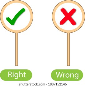 Opposite words with right and wrong illustration