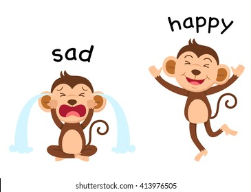 Opposite words sad and happy vector illustration