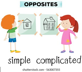 Opposite words for simple and complicated illustration