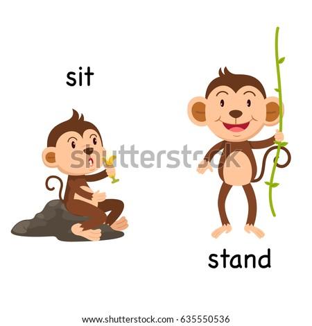 opposite words sit stand vector illustration のベクター画像素材