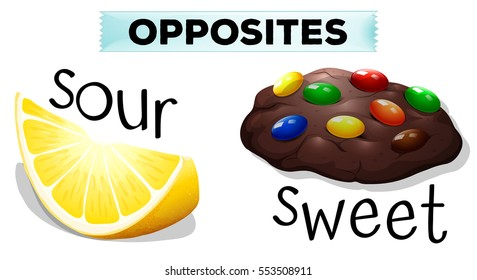 Opposite words with sour and sweet illustration