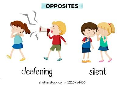 Opposites deafening and silent illustration
