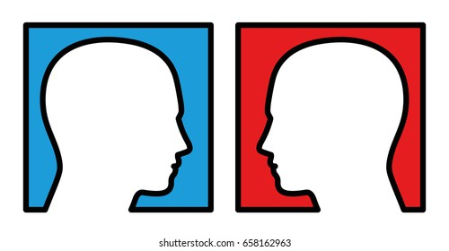 Opposition - two persons looking at each other, with blue and red background, symbolic for competition, rivalry, antagonist. Isolated vector illustration on white background.