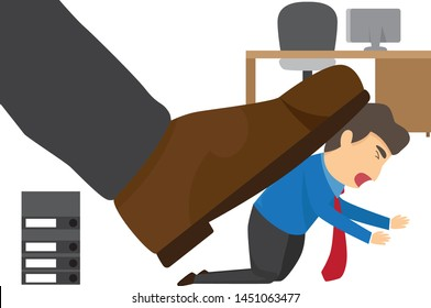 Oppressed by the boss with businessman under a big shoe in office. vector illustration.