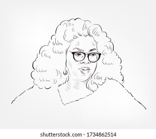 Oprah Winfrey famous American media executive, actress, talk show host, television producer, and philanthropist vector sketch portrait