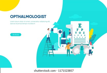 opthalmologist eye check up vector illustration concept, young man checking his eye with doctor  can use for, landing page, template, ui, web, mobile app, poster, banner, flyer