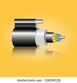 Optic fiber cable. Vector illustration