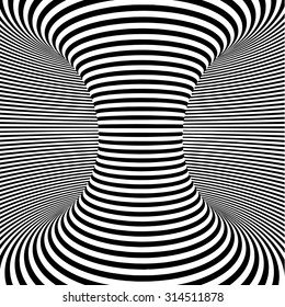 optical art object. spiral with white and black stripes. abstraction and optical illusion background for modern posters, card, invitation or magazine cover